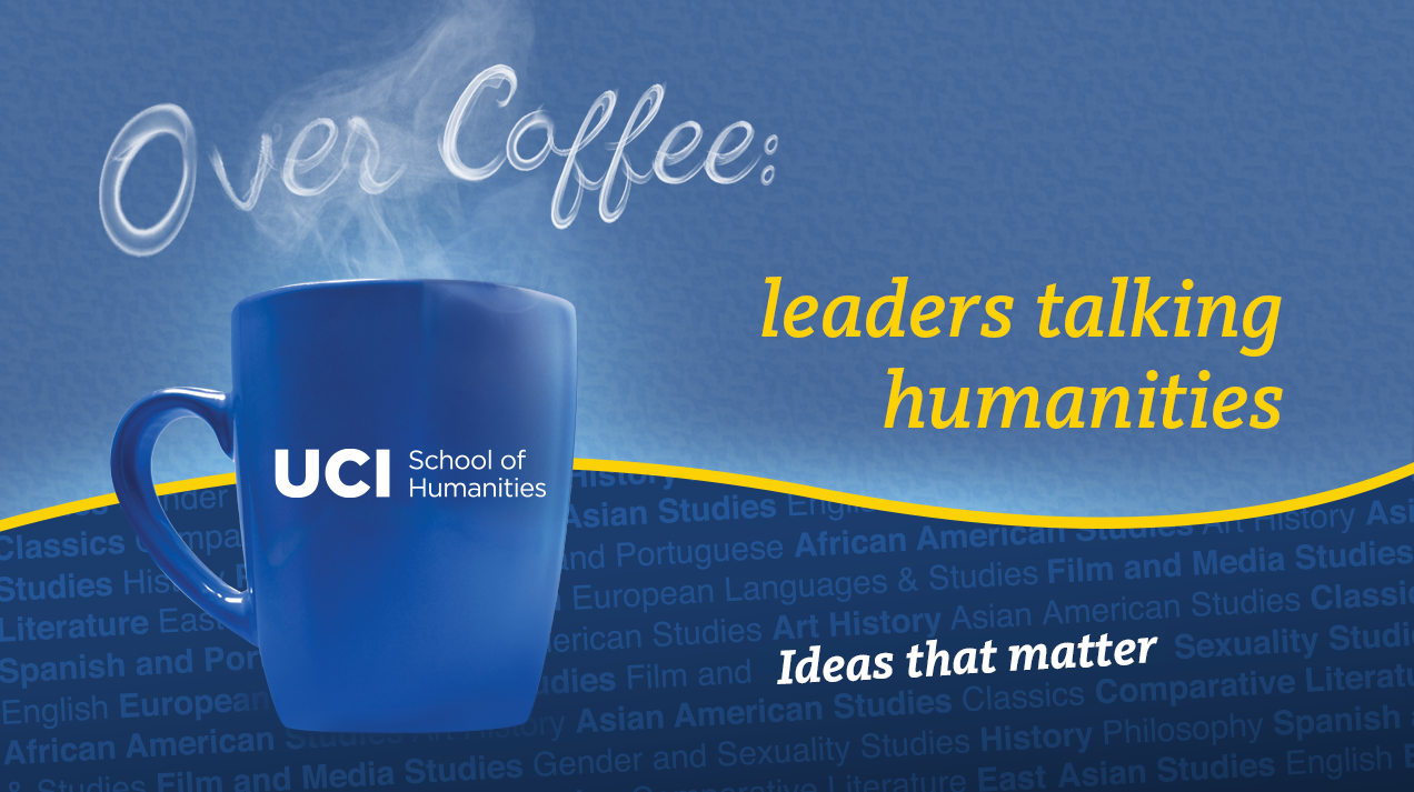 A graphic featuring a cup of coffee on a blue background. Over it, the steam spells out