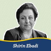 A cutout of a photo of Shirin Ebadi