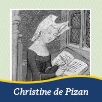A cutout of a painting or Christine de Pizan