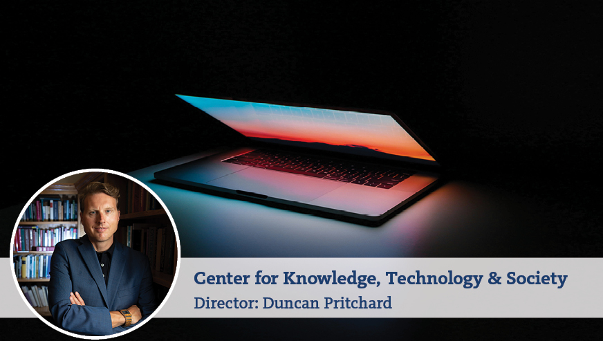 A photo of Duncan Pritchard with his arms crossed on top of a photo of a glowing, partly open laptop. On the bottom it reads,