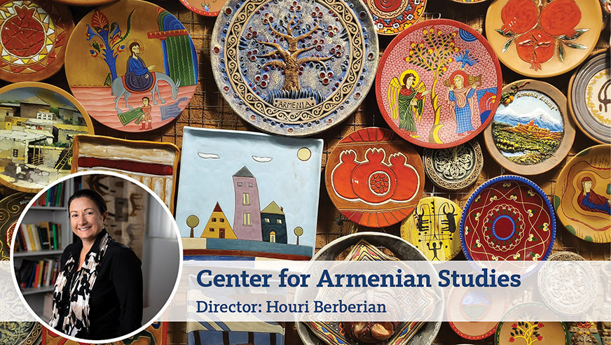 A photo of Houri Berberian smiling on top of a photo of colorful ceramic plates. On top of the images is text reading,