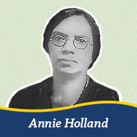 A cutout of a photo of Annie Holland