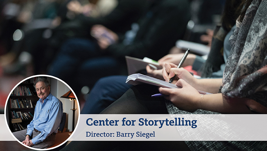 A photo of Barry Siegel on top of a photo of someone taking notes in their lap. The bottom of the image reads,