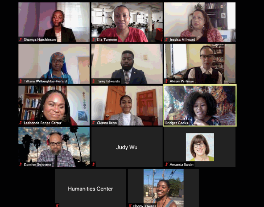 A screenshot of the students and faculty involved in the program chatting on Zoom